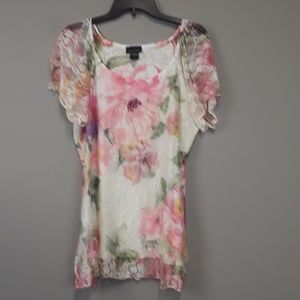 Brittany Black Pink Floral Lace Rhinestone Top